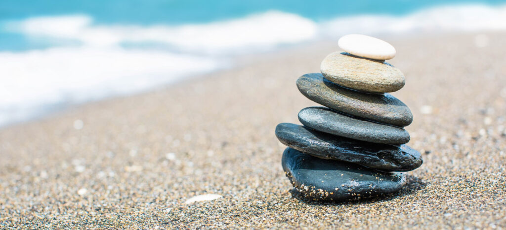 Relaxing on the beach, stack of stones